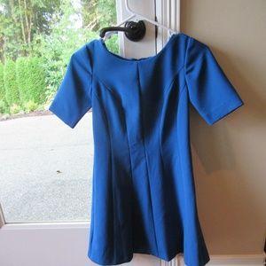 Ann Taylor Petite Royal Blue Fit Flare Dress 0